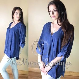 Denim Colored Surplice Button Blouse